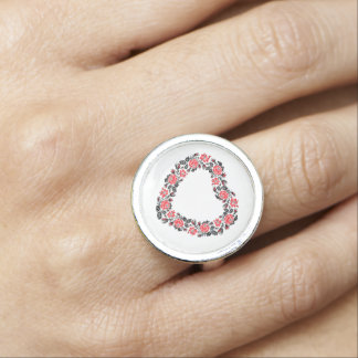 Original Heart of cross-stitch red rose flowers Ring
