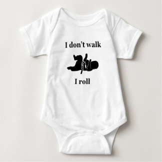 "original ""I don't walk I roll"" print bjj mma Baby Bodysuit"