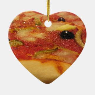 Original italian pizza ceramic heart ornament