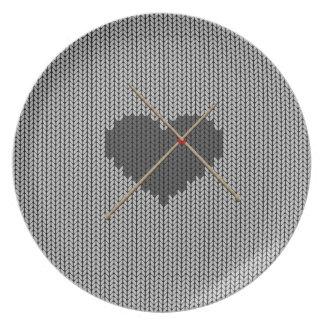 Original Knitted Heart Design Plate