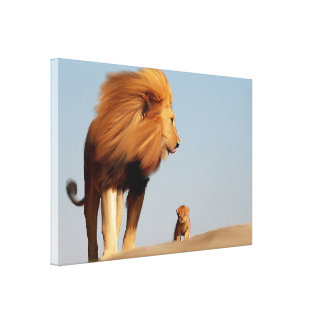 Original Lion Leading Cub Canvas Print