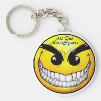 original mad smiley, All Out, MotorSports Basic Round Button Keychain