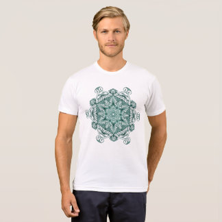 Original Mandala Zentangle Design Neone Turquoise T-Shirt