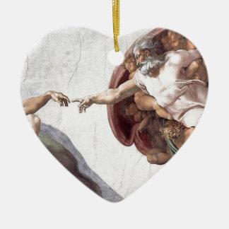 Original Michelangelo paint in sistin chapel Rome Ceramic Heart Ornament