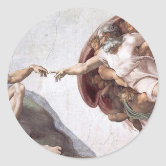 Original Michelangelo paint in sistin chapel Rome Classic Round Sticker