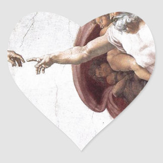 Original Michelangelo paint in sistin chapel Rome Heart Sticker