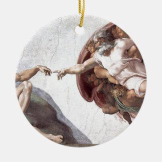 Original Michelangelo paint in sistin chapel Rome Round Ceramic Ornament