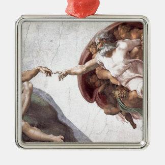 Original Michelangelo paint in sistin chapel Rome Silver-Colored Square Ornament