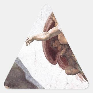 Original Michelangelo paint in sistin chapel Rome Triangle Sticker