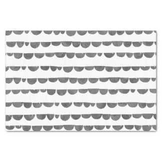 Original modern gray white watercolor scalloped tissue paper
