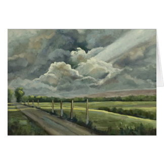 Original Oil Painting of Clouds, Sun, Field & Road Card
