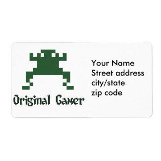 Original old school gamer shipping label