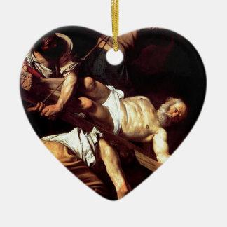 """Original paint """"La crocifissione di s Pietro"""" Ceramic Heart Ornament"""