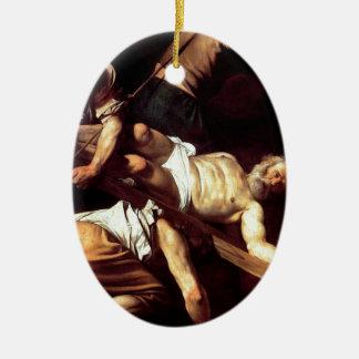 """Original paint """"La crocifissione di s Pietro"""" Ceramic Oval Ornament"""