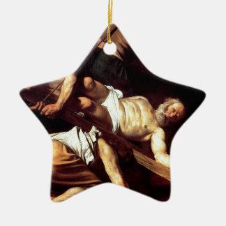 """Original paint """"La crocifissione di s Pietro"""" Ceramic Star Ornament"""