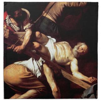"""Original paint """"La crocifissione di s Pietro"""" Napkin"""