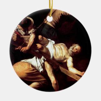 """Original paint """"La crocifissione di s Pietro"""" Round Ceramic Ornament"""