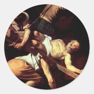 """Original paint """"La crocifissione di s Pietro"""" Round Sticker"""