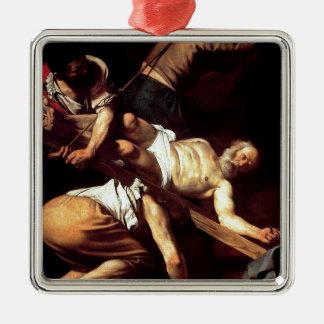 """Original paint """"La crocifissione di s Pietro"""" Silver-Colored Square Ornament"""