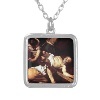 "Original paint ""La crocifissione di s Pietro"" Silver Plated Necklace"