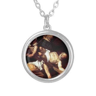 """Original paint """"La crocifissione di s Pietro"""" Silver Plated Necklace"""