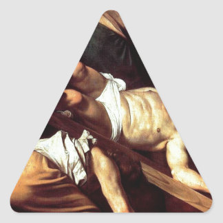 "Original paint ""La crocifissione di s Pietro"" Triangle Sticker"