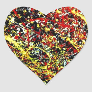 Original paint of Jackson Pollock Heart Sticker