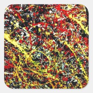 Original paint of Jackson Pollock Square Sticker