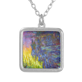 "Original paint ""The Water Lilies"" by Claude Monet Silver Plated Necklace"