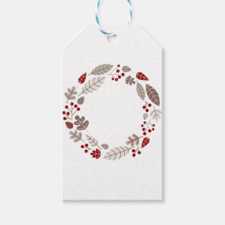 Original painted leaves circle Brown Gift Tags