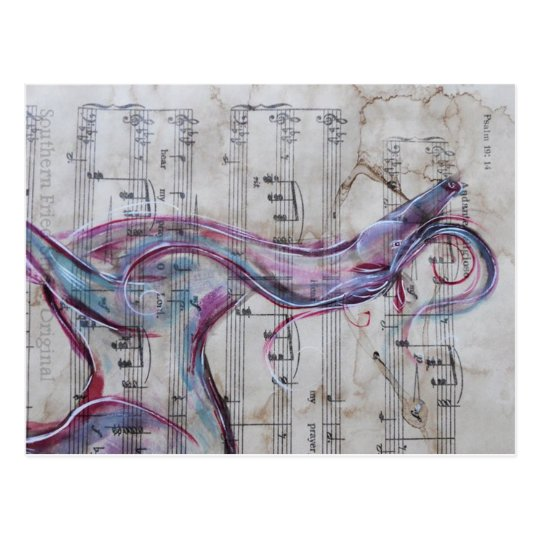 Original Painting Horse on Song sheet Postcard