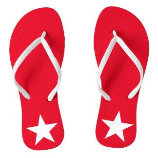 Original Patriotic Red and White Star Symbol Sign Flip Flops