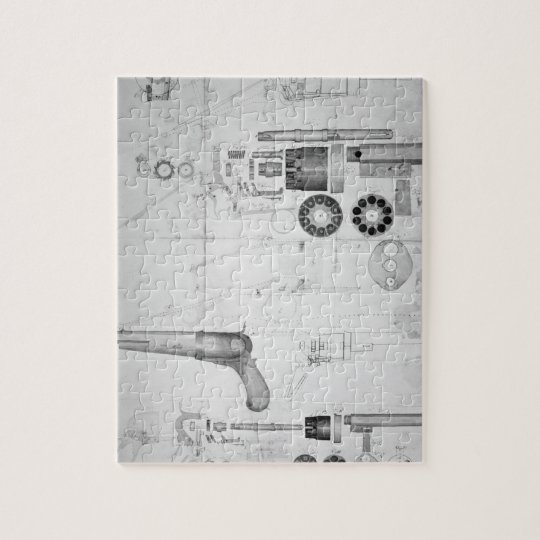 Original plans for a ten-chamber revolver which la jigsaw puzzle