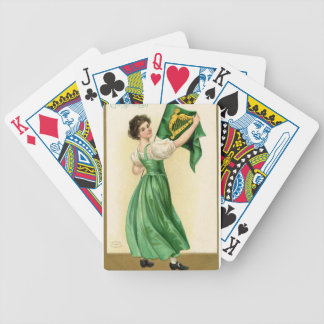 Original poster of St Patricks Day Flag Lady Bicycle Playing Cards