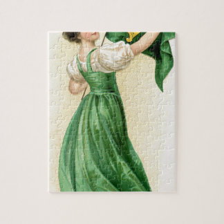 Original poster of St Patricks Day Flag Lady Jigsaw Puzzle