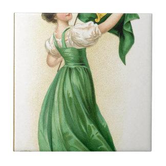 Original poster of St Patricks Day Flag Lady Tile