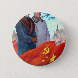 Original propaganda Mao tse tung and Joseph Stalin 2 Inch Round Button
