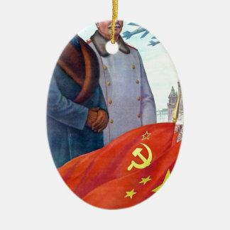 Original propaganda Mao tse tung and Joseph Stalin Ceramic Ornament