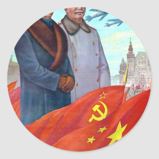 Original propaganda Mao tse tung and Joseph Stalin Classic Round Sticker