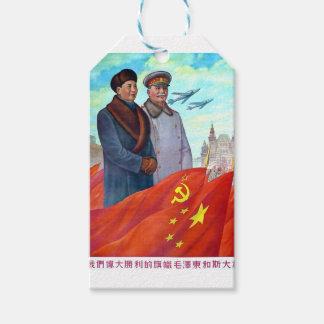 Original propaganda Mao tse tung and Joseph Stalin Gift Tags