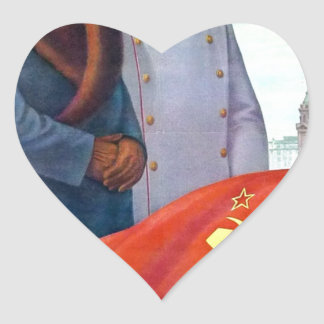 Original propaganda Mao tse tung and Joseph Stalin Heart Sticker