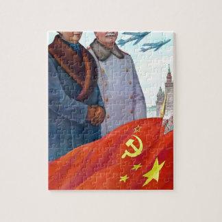 Original propaganda Mao tse tung and Joseph Stalin Jigsaw Puzzle