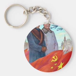 Original propaganda Mao tse tung and Joseph Stalin Keychain