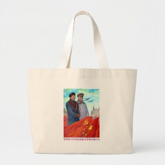 Original propaganda Mao tse tung and Joseph Stalin Large Tote Bag