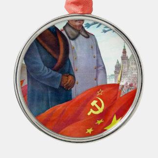 Original propaganda Mao tse tung and Joseph Stalin Metal Ornament