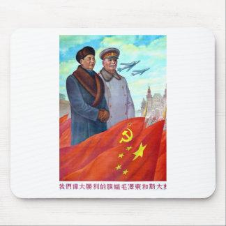 Original propaganda Mao tse tung and Joseph Stalin Mouse Pad