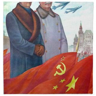 Original propaganda Mao tse tung and Joseph Stalin Napkin