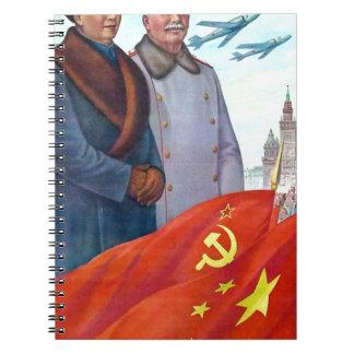 Original propaganda Mao tse tung and Joseph Stalin Notebooks
