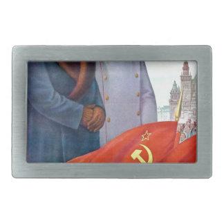 Original propaganda Mao tse tung and Joseph Stalin Rectangular Belt Buckle