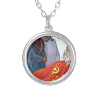 Original propaganda Mao tse tung and Joseph Stalin Silver Plated Necklace